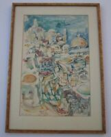 RARE 1960 ROOF TOPS PAINTING SIGNED YAVSIN OR YANSIN?  EXPRESSIONISM ABSTRACT