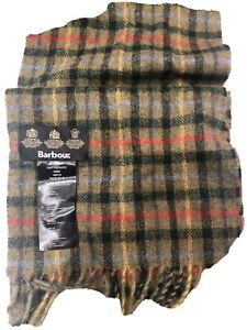 Mens Barbour Wool Olive Mix Plaid Country Scarf-New