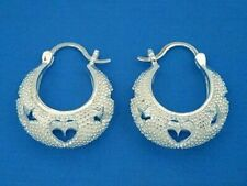 E184 Sterling Silver Heart & Star Shrimp Hoop Earrings New Solid 925