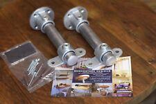 Galvanised Steel Pipe Shelf Brackets (pair) Industrial Style, Made in U.K.