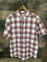 Columbia Men's Red & White Plaid Button Up Shirt Size M
