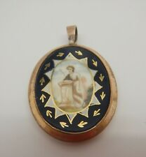 Mourning Locket With Miniature Georgian Gilt Metal Verre Eglomise