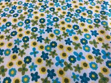 """Fabric Finders Corduroy- Thin Waled # Cd11- Blue, Green & Yellow Floral-56""""W-Bty"""