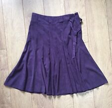 Size 14 BHS Purple Faux Suede Skirt Boho Autumn Hippie Flare Midi Belt 70s Style