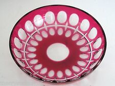 """VAL ST LAMBERT CRANBERRY CRANBERRY CASED CUT TO CLEAR CRYSTAL 5"""" BOWL SIGNED"""