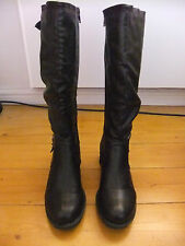 Biker Style Boots Brown Faux Leather Buckle Size 3