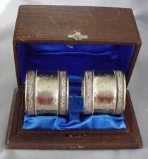 2 Fine Antique Sterling Napkin Rings & Presentation Box