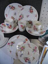 Coalport England  SET 3 DEMITASSE CUPS & SAUCERS & BUTTER PLATES Pink Floral