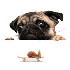 Funny Cute 3D Pug Dog Watch Snail Car Window Decal Cute Pet Puppy Laptop Sticker
