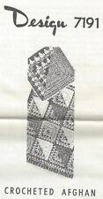 Crocheted Afghan Pattern (7191) Vintage New