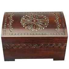 Large Polish Wood Chest Handmade Floral Wood Jewelry Keepsake Box w/ Lock & Key