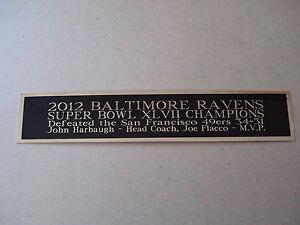 Baltimore Ravens Super Bowl 47 Nameplate For A Football Mini Helmet Case 1.5 X 6