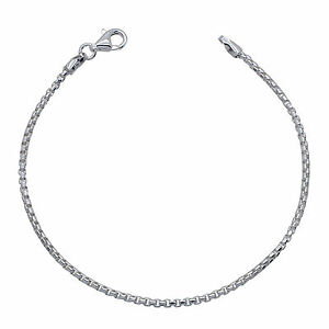 925 Solid Sterling Silver ROUNDED BOX chain BRACELET 2mm NEW