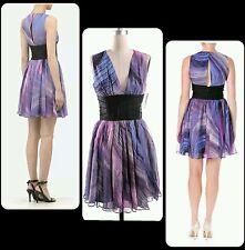 $395 ELIZABETH AND JAMES Purple Multi VNeck Jana Silk Cocktail Dress ~ 10  M3020