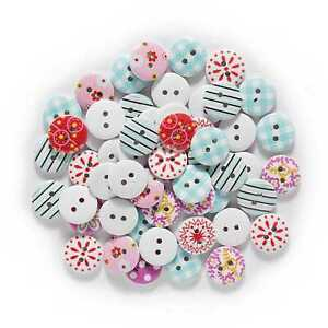 50pcs Mixed Round Wood buttons Sewing Scrapbook for Crafts Clothing Card 15mm