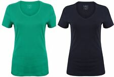 EX M&S 100% COTTON  T-SHIRT TOP BLOUSE TEE NEW LADIES WOMENS V NECK LARGE