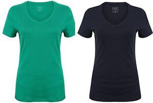Ladies Girls T Shirt Cotton Ex M & S Tee Womens V Neck Scoop Navy Green Size new