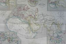 Grande CARTE MAP 1864 MAPPEMONDE OLD WORLDMAP PLANISPHERE GLOBE MONDE ANCIEN
