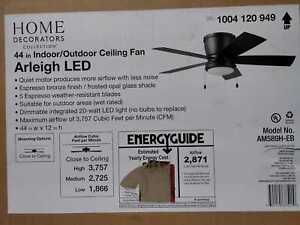Arleigh 44'' LED Outdoor Espresso Bronze Ceiling Fan w/ Light by Home Decorators