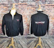 VTG Polo Sport Ralph Lauren Black Full Zip Embroider Flag Windbreaker Jacket L