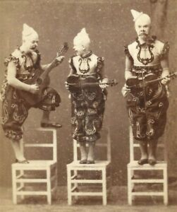 Cabinet Card Photo Scary Clowns Circus Act Otto Gebhardt Halle Germany 1880s-90s