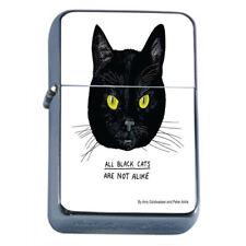 Black Cat Em2 Flip Top Oil Lighter Wind Resistant With Case