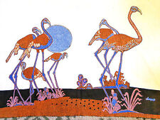 6 FLAMINGO FAMILY***Vintage BATIK PAINTING  Museum Quality