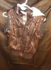 Women's YMI Faux Leather Jacket Vest Removable Hood Faux Fur Lined Black sz S