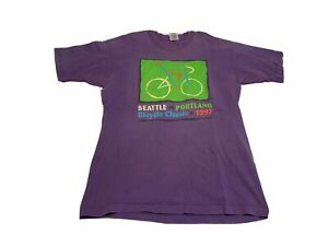 Vintage T-Shirt L Seattle To Portland Bicycle Classic 1997 Purple