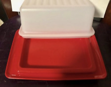 Tupperware Impressions Butter Buddy Cream Cheese 1 pound Dish Red New