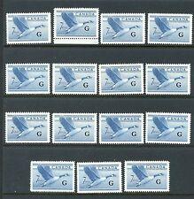"""Canada #O31 X (15) (CA511) Canadian goose Official O/P """"G"""", MNH,FVF, CV$60.00"""