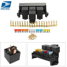 Car Boat 10 Way Circuit Standard Blade Middle Size Fuse Box Block Holder 12V 80A