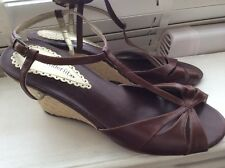 Ladies Marks&SpencerSandals brown leather Rope wedges UK6.5/7Wider Fit NearlyNew