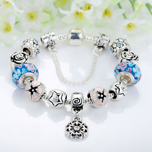 New 925 Silver Love Heart Blue Zirconia Charm Bracelet for Women Christmas