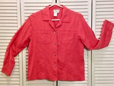 COLDWATER CREEK Salmon Coral Pink Cotton Linen 3/4 Sleeve Button Shirt Jacket S