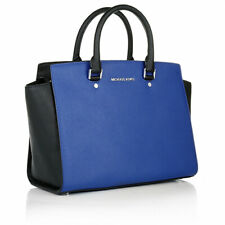 MICHAEL MICHAEL KORS Selma LG TZ Satchel Bag In Electric Blue/Black VGC!