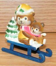 Unbranded Teddy Bear On Blue Sleigh Christmas Figurine Village Decoration Only