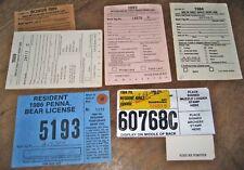 Pennsylvania Hunting Lic./Report Cards/Bonus Deer Tag/Bear Tags 1980's/1990's
