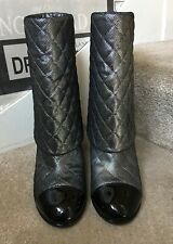 Chanel Lambskin Metallic Heart Clover CC Quilted Ankle Boots Booties Size 40/7