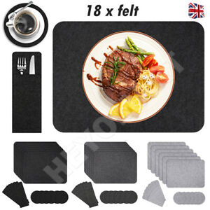 18x Felt Place Mats Coaster Cutlery Bag Dining Table Placemats Non-Slip Washable