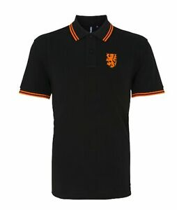 Holland Netherlands 1970sRetro Football Tipped Polo Embroidered Crest S-XXXL