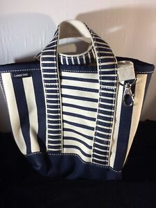 Lands End Small Tote Bag Natural Heavy Canvas Navy Blue Strip Open Top Nautical