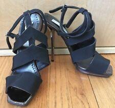 Stella McCartney black silver strappy metal stiletto heel platform sandals 38 8