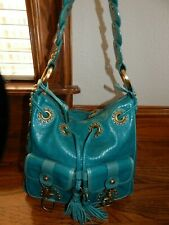 Large Isabella Fiore Studded Turquoise Leather  Shoulder Bag Tote - Rare