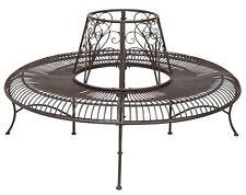 Tuinbank boombank tuin meubilair meubelen strijkijzer bruin antiek stijl 146cm