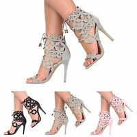NEW WOMENS LADIES HIGH STILETTO HEELS LACE UP STRAPPY SANDALS SHOES SIZE 3-8