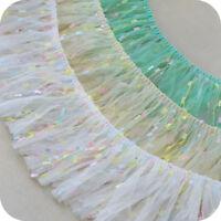 2yds Gauze Ruffle Tassel Trim Pleated Fringe Lace Ribbon Sewing DIY 3.93'' Width