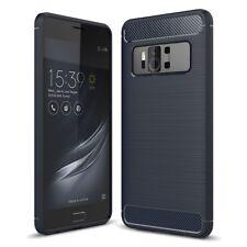 Asus Zenfone AR ZS571KL TPU Case Carbon Fiber Optik Brushed Schutz Hülle Blau