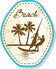 "Beach Palm Vintage Retro Grunge Vacation Car Bumper Sticker Decal 4"" x 5"""
