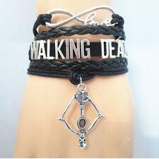 NEW Walking Dead Hand Woven Leather Sword Bow Black Bracelet Jewelry